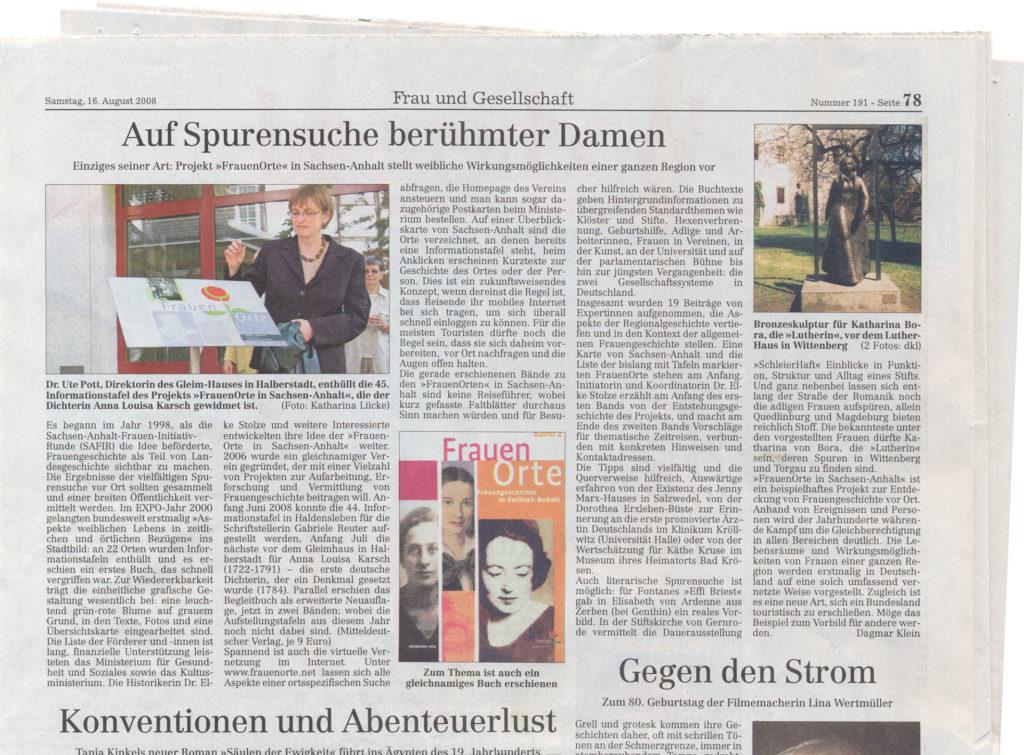 Auf Spurensuche berühmter Damen - Zeitungsartikel vom 16.08.2008