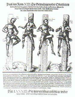 Vier Hingerichtete in Wittenberg, Holzschnitt von Lucas Cranach d.J., 1540 (Ebenda S. 37)