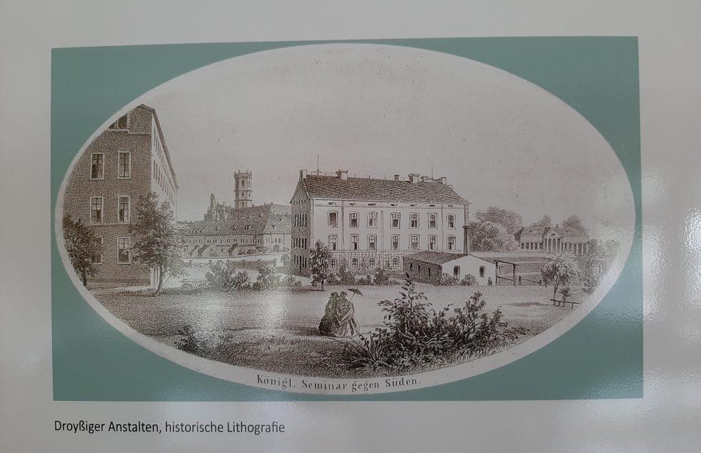 Droyßiger Anstalten_historische Lithographie_aus Heimatstube