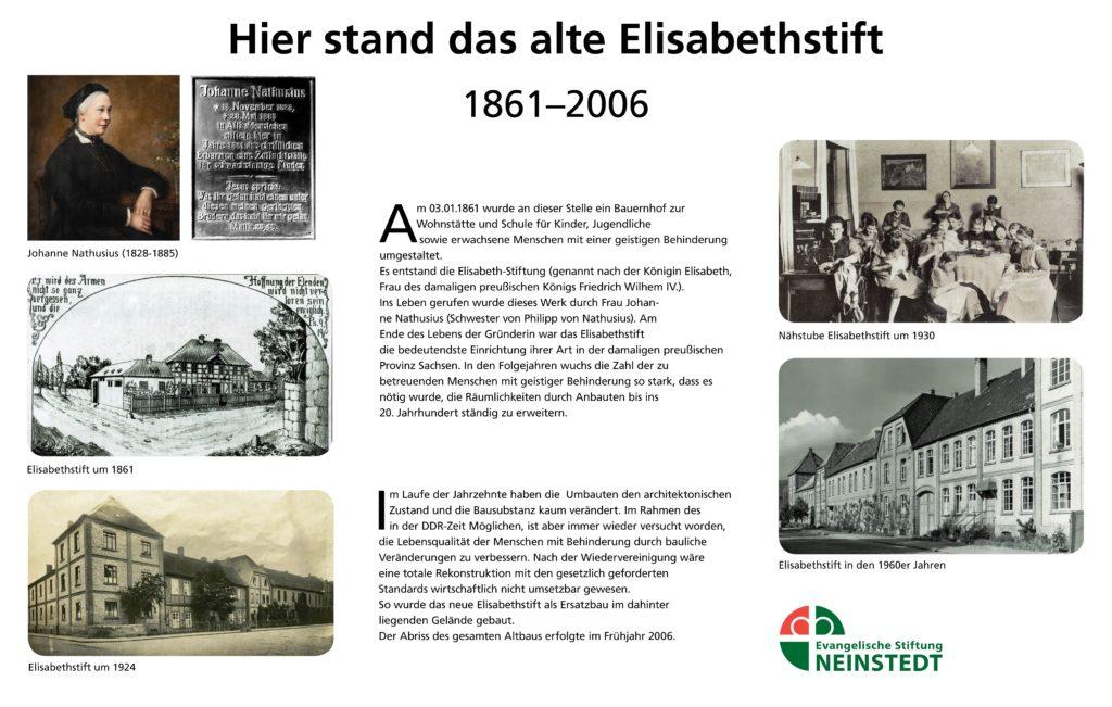 Elisabethstift Neinstedt- Infotafel am alten Standort des Stiftes